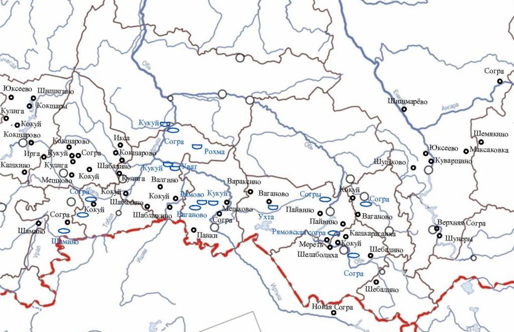 Мерянская топонимия Урала и Сибири - карта.